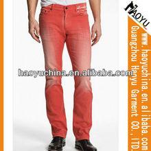 Venta al por mayor de moda hombre recto de lavado de color rojo pantalones vaqueros( hym66)