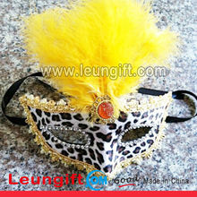 masquerade party face leopard print mask with feather/party mask with rhinestone