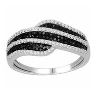 New design Black and White Diamond women wedding band ring mirco pave black silver cz paved women silver jewelry ring