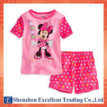 Casual Style Round Collar Mickey Pattern Top Polka Dots Short Pants Girls Sets