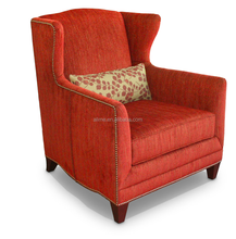 Alime hot sell modern custom commercial red fabric wing lounge chair for hotel bedroom furniture sets AAC641