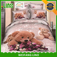 teddy bear cartoon design 3d baby crib set baby cot bedding set organic baby cotton set