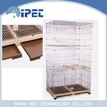 Ipet heavy-duty foldable two bottom display wire mesh cat cages