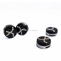 8mm Alloy Rhinestone Hockey Puck Charms/ Loose Beads For Bracelet