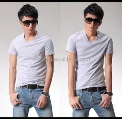 Anti-pilling cotton t-shirt,top quality V-neck shirt,Men's V-neck t-shirt, custom with your logo