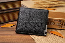 2015 Fashion iron corner wallet thin dry milled leather wallet OEM