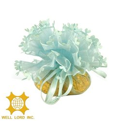 Hotsale beautiful flower attractive Organza Gift drawstring pouch