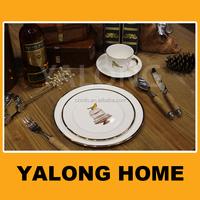 White Golden Dinnerware Ceramic Meat Plates with Bird Design