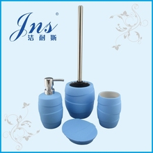 Rubber Coated Fancy Blue Ceramic Bathroom Accessories Set