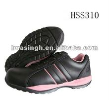 Pink+black outsole smooth pure leather London style trainers safety sport shoes