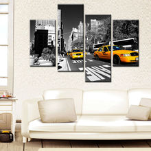 Black and White New York City with Yellow Cabs Photo Printing Canvas