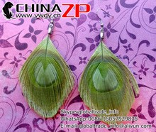 The latest design earring from China ZP crafts factory new Lime Green Peacock Feather Earrings
