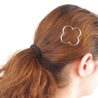 Simple Style Women Accessories Metal Four Leaf Clover Hairpins Golden/Sliver X6-051