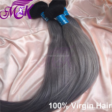 Tangle free clean high quality cheap gray hair weave