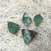 MU150911297 Free Form Apple Green Chrysoprase Stone Connector 24K Gold Plated