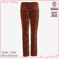 Woven garment hot selling good quality girls tight pants for girls with zipper pockets