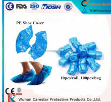 wholesale cheap laboratory use blue disposable PE shoe cover