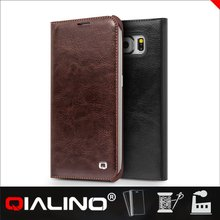 QIALINO Embellished Best Quality Custom Fitted Pouch Leather Case For Samsung S6