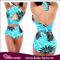 YH7089 New arrival sexy bikini sets plus size bikini high waist print sky blue black in stock M L XL summer swimwear