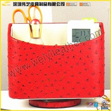 2015 High Quality 360 Degrees Rotating Media Storage Remote Control Carousel Red Custom Leather Fashion Stationary Pencil Case