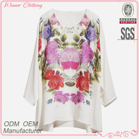 Fashion clothing manufacturer three quarter sleeve round neck chinese style print pattern loose fitting printed white t-shirts