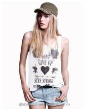 Fashion Street Personality Pattern water print women tank top(White)