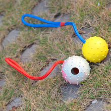 2015 New design for rope rubber dog rope toy ball