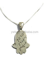 God bless keep you hamsa pendant necklace with silver box chain