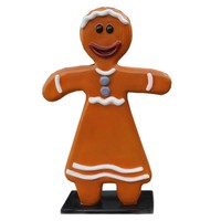Fiberglass Gingerbread Woman Statue for Christmas decorations