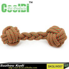 New pet products braided cotton rope dog chew toys with two balls