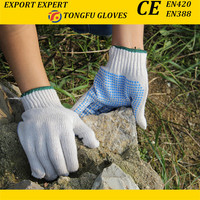 Natural white 10 guage Best selling Bulk PVC Dotted Working Glove Cotton Work Glove EN388 For Construction Use