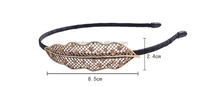 H794-152 fabric wrapped vintage rhinestone leaf headband