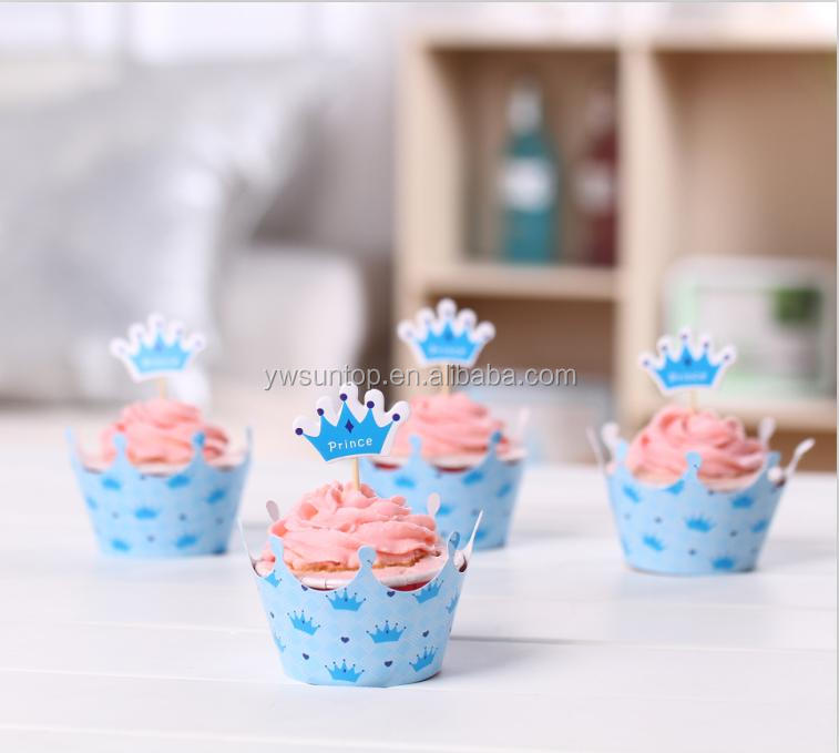 Baby Shower Decorations Bulk ~ Wholesale blue princess crown paper cake toppers baby