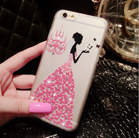 New 3D Rhinestone Silicon Mobile Phone Protective Cover Case For iPhone 5 5S 6 6 6S 6 Plus 6S Plus Painted Back Cover For Apple
