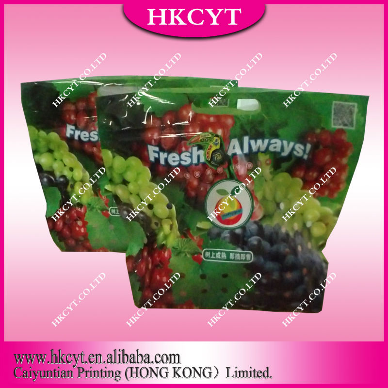 พลาสติกยืนขึ้นถุงบรรจุภัณฑ์ที่มีหลุมขนาดเล็กสำหรับบรรจุผลไม้หรือผัก/2ชั้นสำหรับบรรจุภัณฑ์ผลไม้