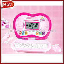 Pink color Laptop toys with mouse&microphone