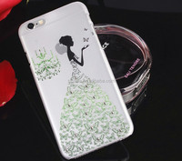 Wholesale Wedding Dress Girl Design Shining Bling Crystal Hard Back Case For samsung galaxy s6
