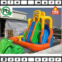 cartoon inflatable water slide with water pool and basketball hoop