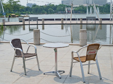 Outdoor leisure modern rattan mental stacking garden patio set YC030 YT1L