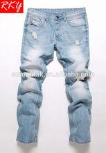 2014 la luz azul de mezclilla pantalones vaqueros de los hombres de pantalón cepillo de moda pantalones pantalones vaqueros