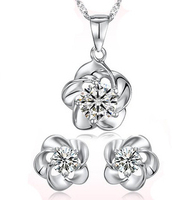 Wholesale 100% 925 Silver Jewelry Sets Sterling Silver Jewelry set for Women Plum Flower Set Free Shipping