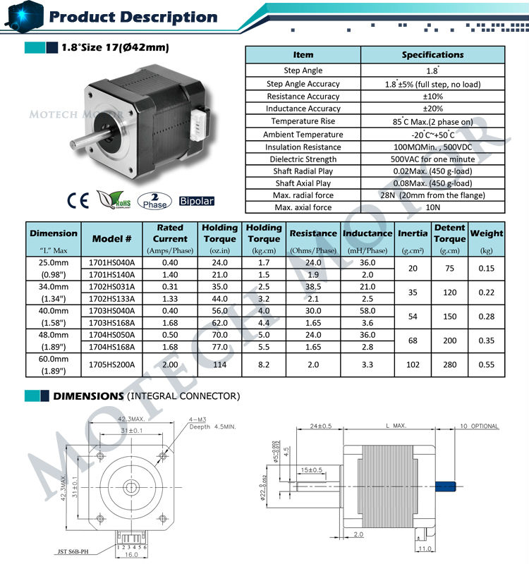Nema 17 17hs4401 stepper motor 42mm motor buy nema 17 for Nema 17 stepper motor datasheet