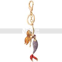 Fashion Jewelry Little Mermaid Fairy Tale Excellent Custom Crystal Mermaid Keychain