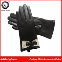 Helilai Customized Leather Gloves with Classic Bow Fashion Unique Cuff Leather GLoves