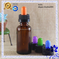 Amber 30ml glass dropper bottles with childproof dropper colorful nipple with shrink wraps