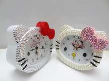cute design hello-kitty cat alarm clock with bling reinstone