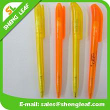 Slim plastic pen yellow orange color pen with company logo silk printing