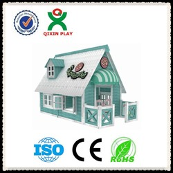 charming design outdoor kids wooden playhouse/wooden china wholesale playhouse/cubby house for preschool kids QX-204H