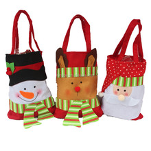 New Year Xmas Cute Christmas candy bags Santa Reindeer gift bag hand gifts Holder