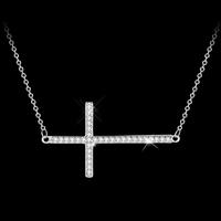 Silver Cross Pendant Necklace Jewelry N00621-5550